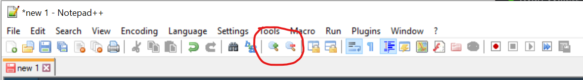 Notepad++ Change Text Size - Zoom Icons
