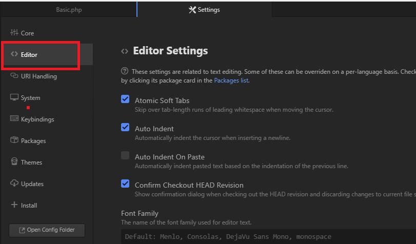 Atom - Settings - Editor