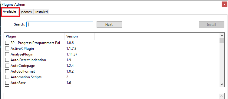 Notepad++ - Plugins Admin - Available