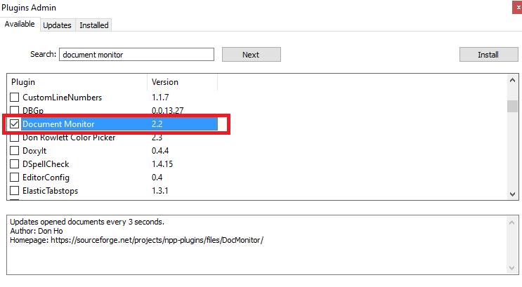 Notepad++ - Plugins Admin - Document Monitor