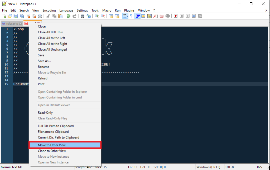 Notepad++ Right Click - Move To Other View