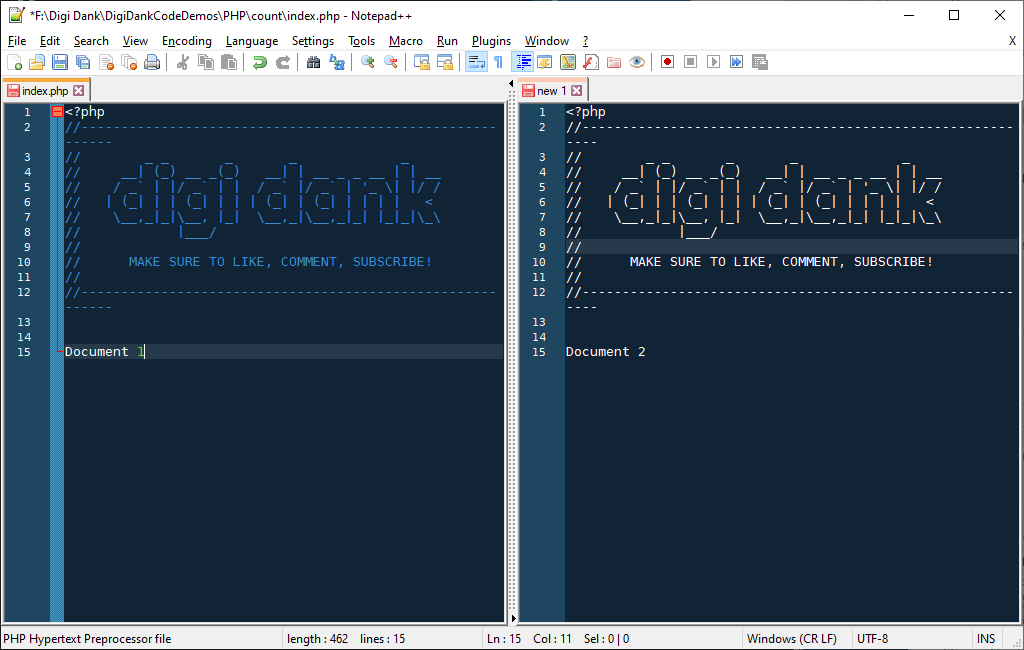 Notepad++ Split Screen