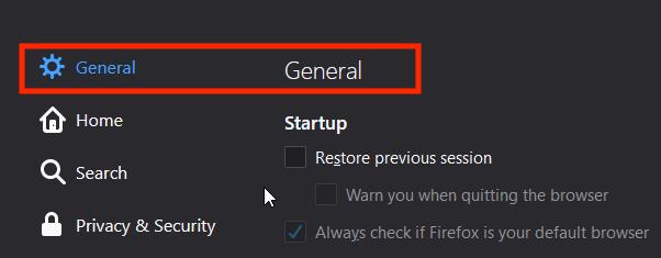 Firefox - Settings - General