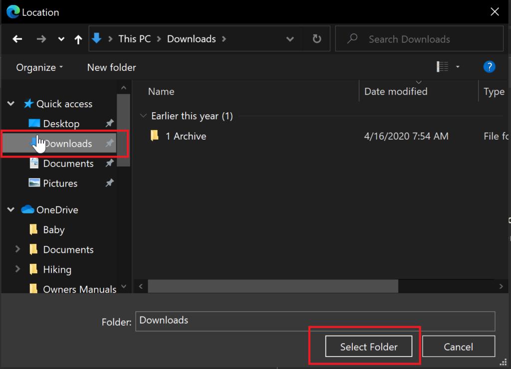 Microsoft Edge - Change Download Folder