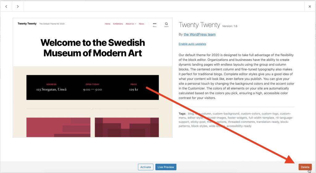 Wordpress - Delete Theme Button