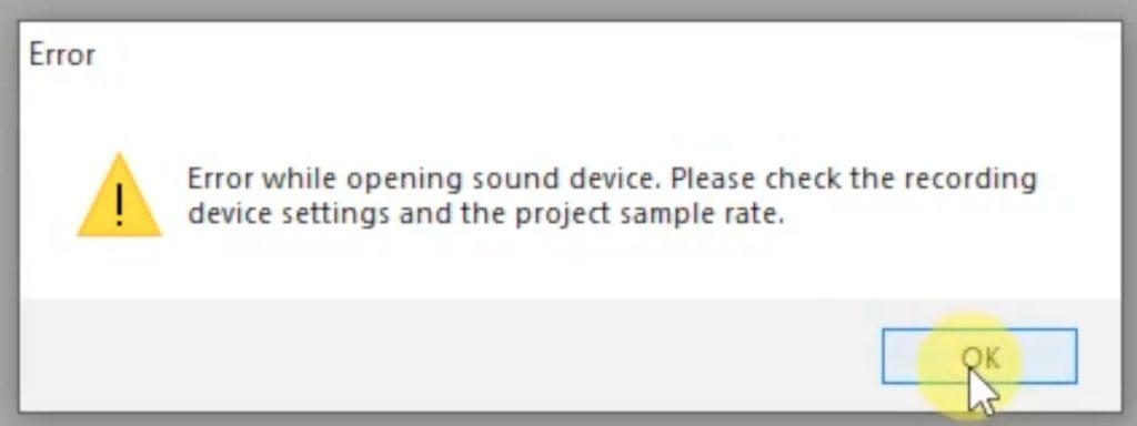 Audacity - Error while opening sound device