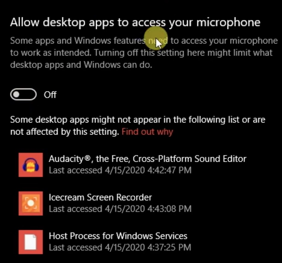 Windows 10 - Allow desktop apps to access your microphone - off