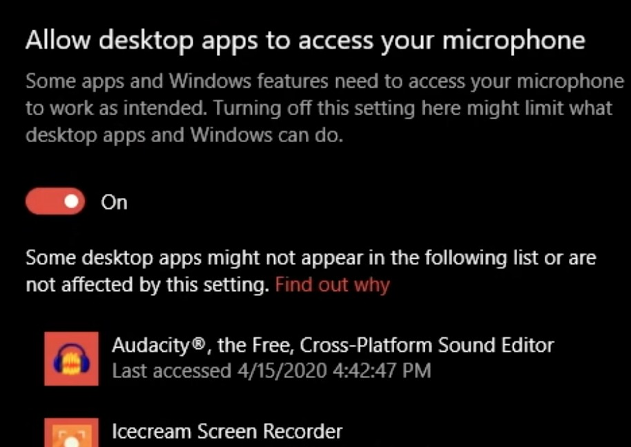Windows 10 - Allow desktop apps to access your microphone - on