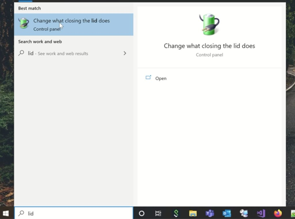 Windows 10 - Change what closing the lid does