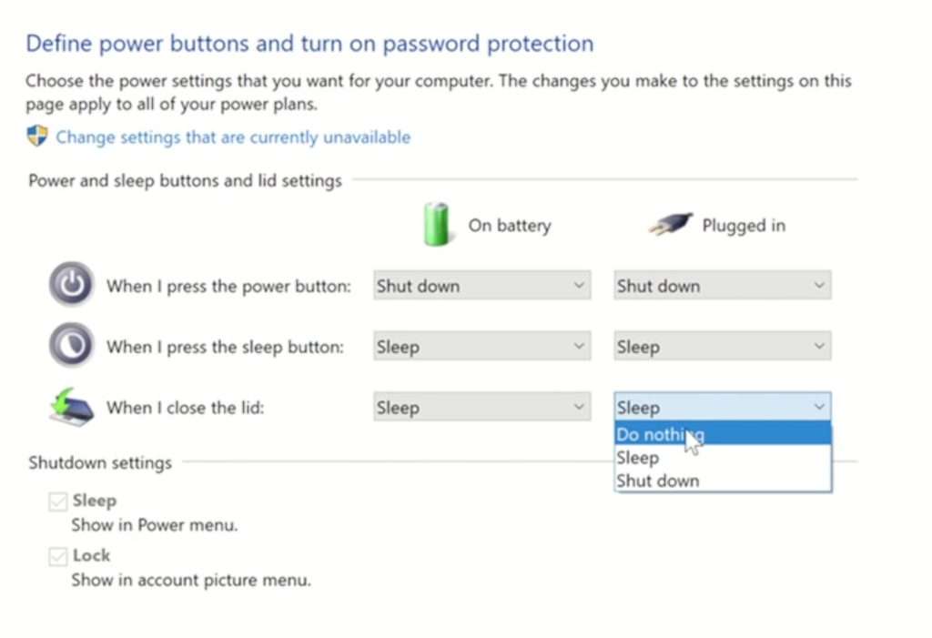 Windows 10 - When I close the lid plugged in
